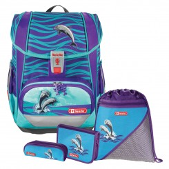 Happy Dolphins Step by Step LIGHT 2 Schulranzen-Set 4tlg.