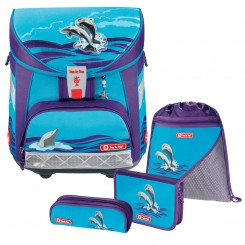 Happy Dolphins Step by Step LIGHT Schulranzen-Set 4tlg.