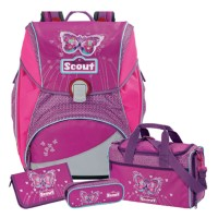 Purple Butterfly Scout Alpha Schulranzen-Set 4tlg.